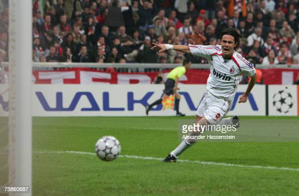 Filippo Inzaghi of Milan celebrates scoring the second goal during the UEFA Champions League Quarter Final second leg match between FC Bayern Munich...