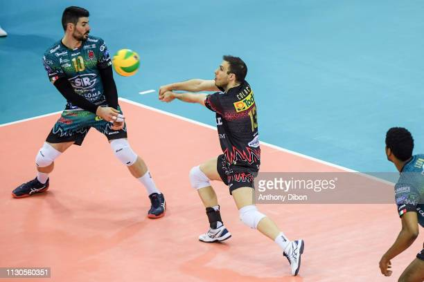 Filippo Lanza and Massimo Vito Colaci of Perugia during the CEV Champions League match Chaumont 52 and SIR Safety Perugia on March 14 2019 in Reims...