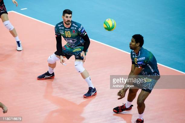 Filippo Lanza and Wilfredo Leon of Perugia during the CEV Champions League match Chaumont 52 and SIR Safety Perugia on March 14 2019 in Reims France