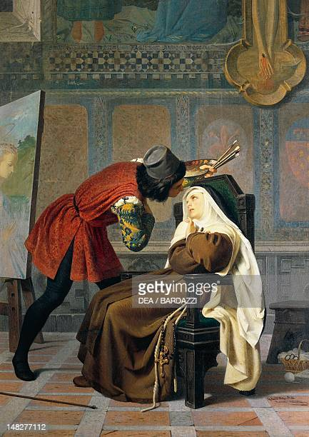 Filippo Lippi and the nun Lucrezia Buti by Gabriele Castagnola , oil on canvas. ; Florence, Palazzo Pitti Galleria D'Arte Moderna .