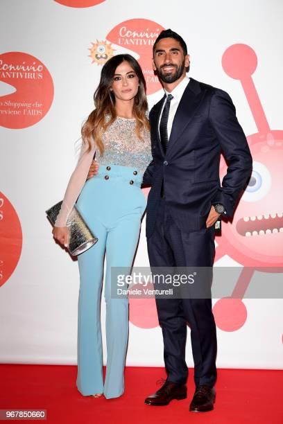 Filippo Magnini and Giorgia Palmas attend Convivio photocall on June 5 2018 in Milan Italy