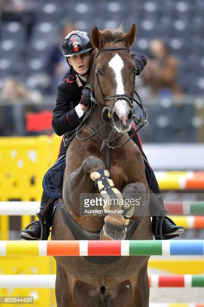 Filippo Marco Bologni of Italia on Quidich de la Chavee competes during the Saut Hermes at Le Grand Palais on March 18 2018 in Paris France