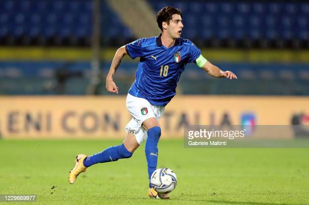 Filippo Melegoni of Italy U21 in action during the UEFA Euro Under 21 Qualifier match between Italy U21 and Sweden U21 at Arena Garibaldi on November...