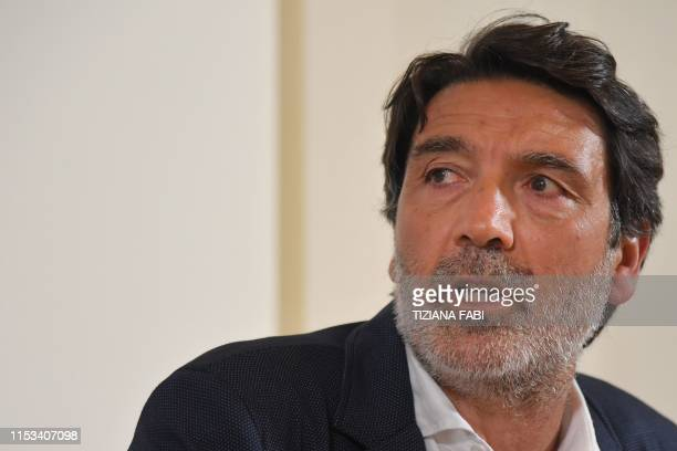 Filippo Miraglia attends a joint press conference of humanitarian NGOs Sea Watch Doctors Without Borders Open Arms and Tavolo Asilo on July 3 2019 at...