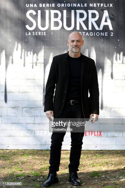 Filippo Nigro attends a photocall for Netflix Suburra The Series season 2 at Casa del Cinema on February 20 2019 in Rome Italy