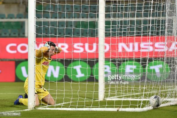 Filippo Perucchini goalkeeper of Ascoli shows his dejection after scoring an own goal during the Serie B match between US Citta di Palermo and Ascoli...