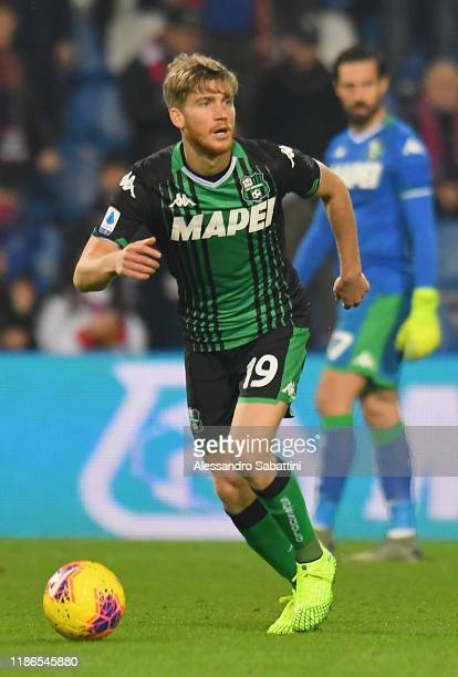 Filippo Romagna of US Sassuolo in action during the Serie A match between US Sassuolo and Bologna FC at Mapei Stadium - Città del Tricolore on...