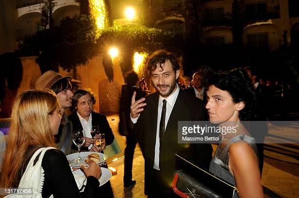 Filippo Timi and Federica Illuminati attend the 2009 Rudolph Valentino Awards cocktail party at the Poltu Quatu Harbour Resort on August 29 2009 in...