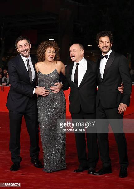 Filippo Timi Valeria Golino director Marco Simon Puccioni and Francesco Scianna attend 'Come Il Vento' Premiere during The 8th Rome Film Festival on...