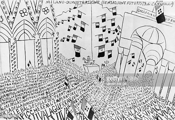 Filippo Tommaso Marinetti*1876-1944+Schriftsteller, ItalienBegruender des literarischen FuturismusVersammlungsplakat der Futuristen in Mailand:...