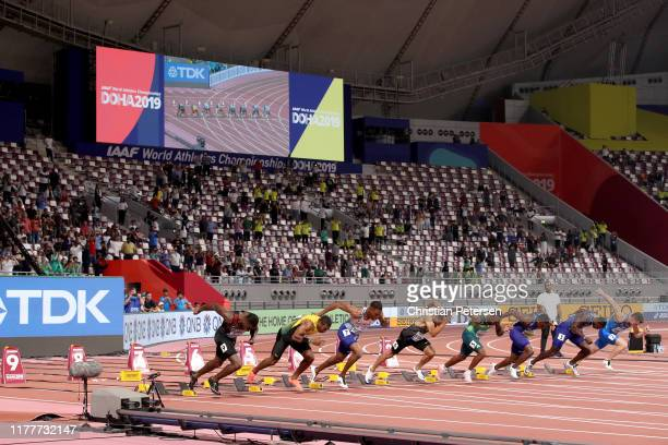 Filippo Tortu of Italy Justin Gatlin of the United States Christian Coleman of the United States Akani Simbine of South Africa Andre De Grasse of...