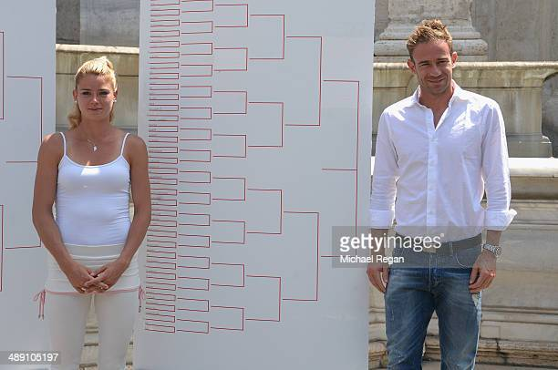 Filippo Volandri of Italy and Camila Giorgi of Italy looks on during the draw ceremony for The Internazionali BNL d'Italia 2014 on May 10 2014 in...