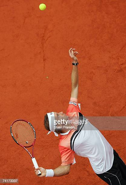 Filippo Volandri of Italy in action during his match against Jose Acasuso of Argentina during day four of the Tennis Masters Series Hamburg at...