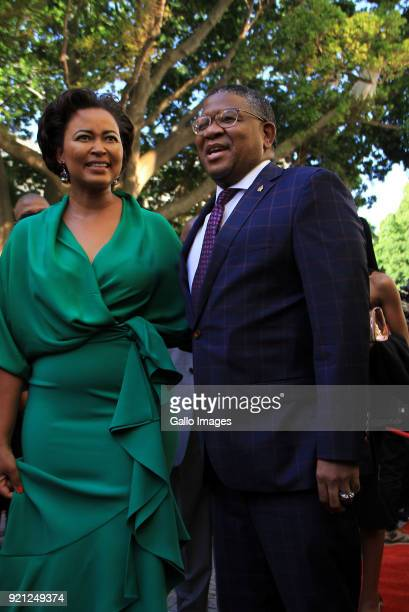 Filkele and Nozuko Mbalula on the red carpet at the State of the Nation Address 2018 in Parliament on February 16 2018 in Cape Town South Africa SONA...