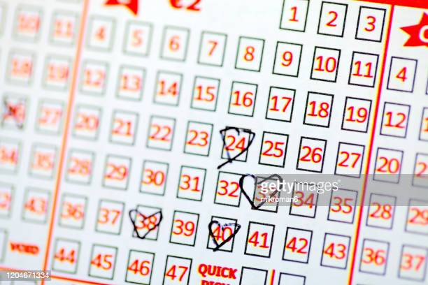 filled in lottery ticket - ticket stock pictures, royalty-free photos & images