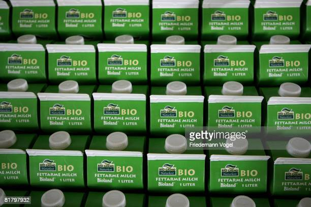 Filled milk cartons in the storage of the MeyereiTrittau dairy plant on July 1 2008 in Trittau Germany German dairy farmers recently struck with milk...