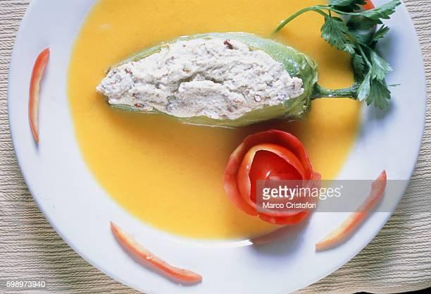 filled pepper mango sauce (oaxaca, mexico) - marco cristofori fotografías e imágenes de stock
