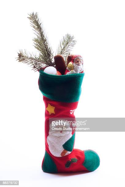 Filled Christmas stocking, close-up
