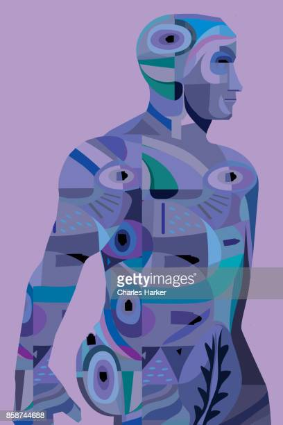 Filled silhouette illustration of a man in vivid blue and purple