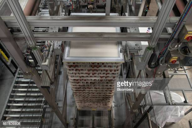 Filled softdrink cans sit stacked at the end of the production line at the Refresco Group NV beverage bottling factory in Maarheeze Netherlands on...