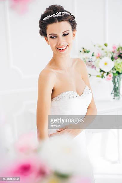 filled with joy and happiness - strapless evening gown stock photos and pictures