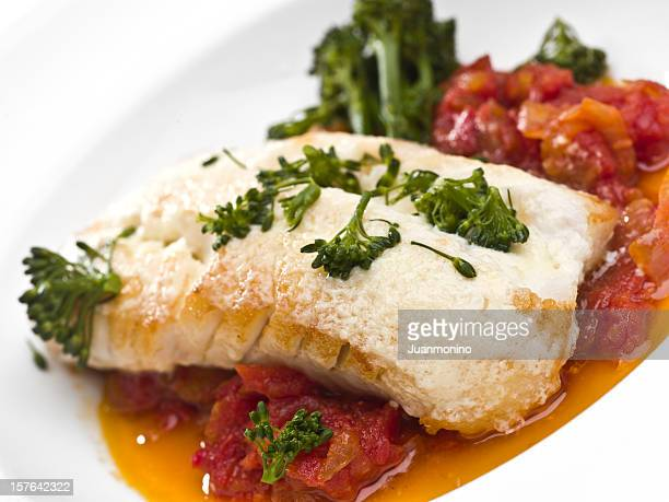 Fillet of cod fish with tomato sauce