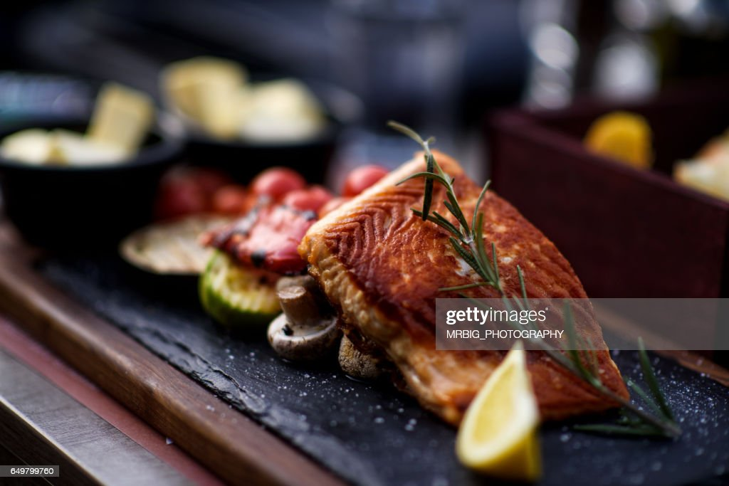 Fillet of salmon with vegetable : Stock Photo