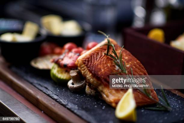 fillet of salmon with vegetable - seafood stock pictures, royalty-free photos & images