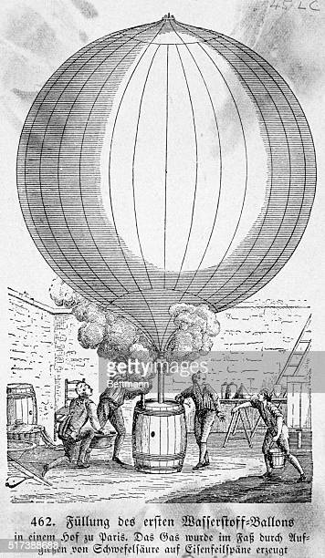 Filling a hydrogen balloon in Paris. Gas produced by pouring sulfuric acid upon filings of iron. Engraving, 18th cent. BPA2# 398