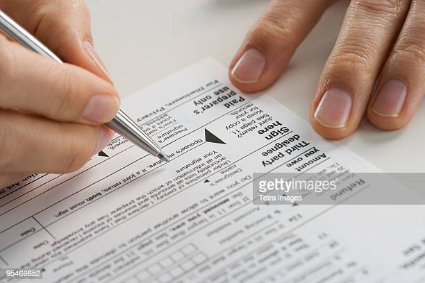 Filling out paperwork