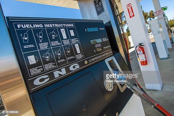 CNG filling station pumps Compressed Natural Gas for vehicles.