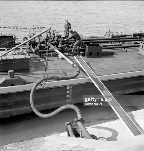 Filling up fuel Rhine port Basle 1948
