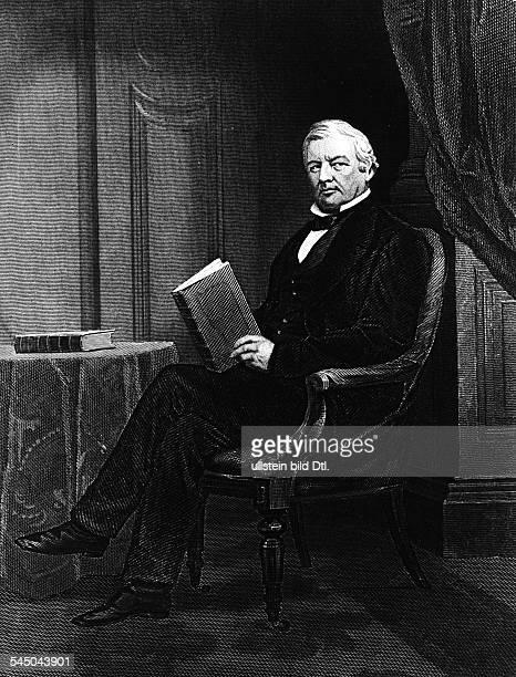 Fillmore Millard *070118000803187413 Praesident der USA Portrait im Stuhl sitzend Buch in der Hand undatiert