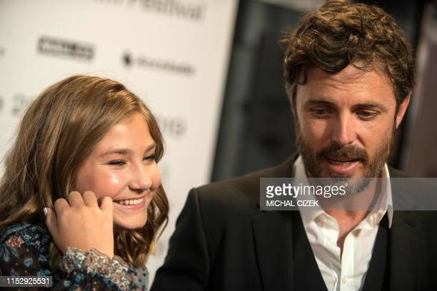 US film actor director and producer Casey Affleck and US actress Anna Pniowsky answer journalists' questions before the presentation of the film...