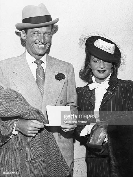 Film actor Douglas FAIRBANKS junior and his wife Mary Lee EPLING HARTFORDas they arrive in San Francisco for a brief visit on April the 7th 1939.
