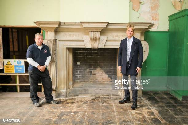 US film actor Hopwood DePree XIV stands Hopwood Hall his family's ancestral home with caretaker and renovation expert Bob Wall that they hope to...