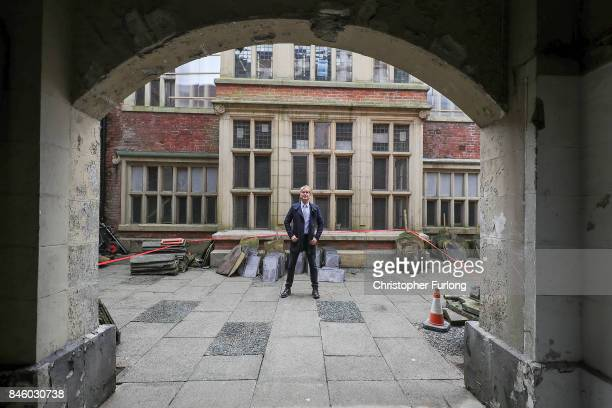 US film actor Hopwood DePree XIV stands outside Hopwood Hall his family's ancestral home that he hopes to restore to its former glory on September 12...