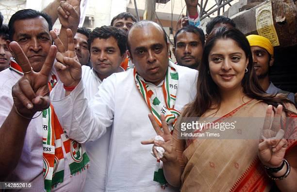 Film actor Nagma canvasses for congressional candidate from Safdarjang Aman Arora on April 13 2012 in New Delhi India Munciple Corporation of Delhi...
