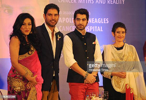Film actor Rituparna Sengupta cricketer Yuvraj Singh Film actors Jit Manisha Koirala during a program organized by NGO Pratigya to spread awareness...