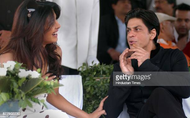 Film actor Shahrukh Khan and Priyanka Chopra at Jaipur polo ground in New Delhi on Sunday