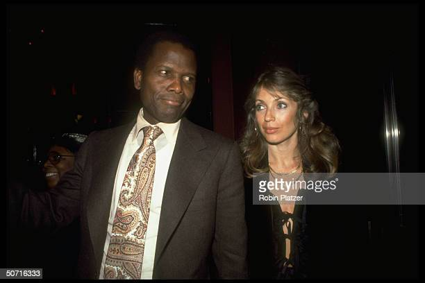 Film actor Sidney Poitier and wife Joanna Shimkus at Studio 54