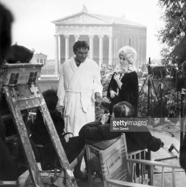 Film actors Richard Burton and Elizabeth Taylor on the set of 'Cleopatra'