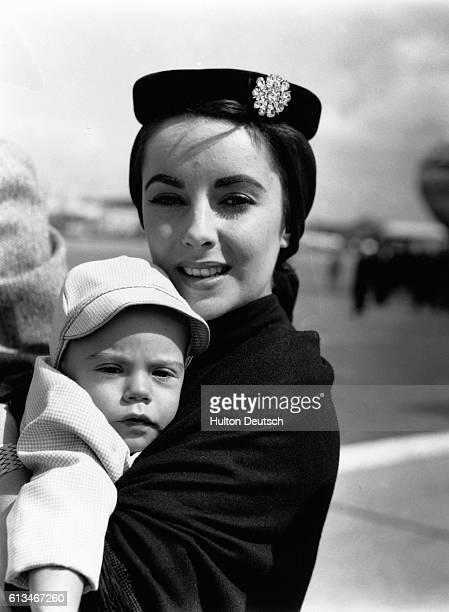 Film actress Elizabeth Taylor with her baby son