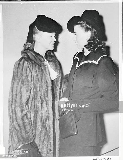 Film actress Ginger Rogers right with her mother Mrs Lela Rogers in a Los Angeles court where the actress secured an uncontested divorce on the...