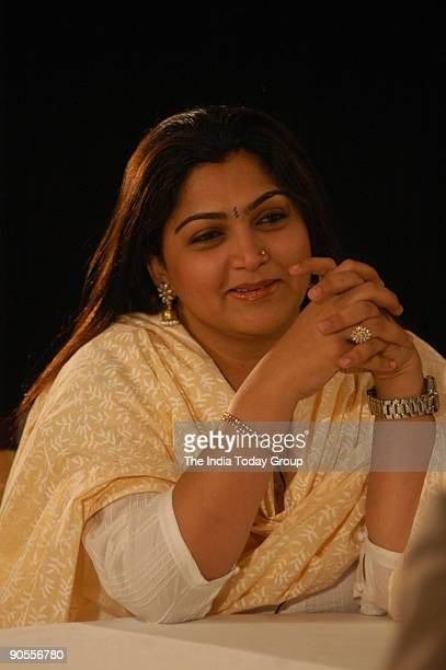 Film Actress Khushboo on the sets of Seedhi Baat a popular TV show aired on Aaj Tak in Chennai Tamil Nadu India