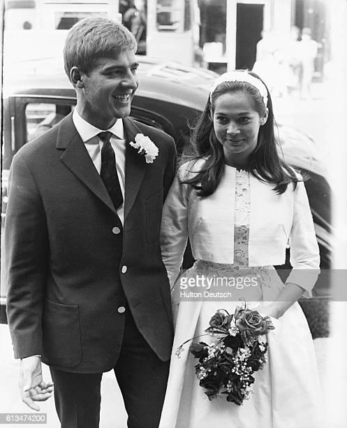 Film actress Nancy Kwan marrying Austrian ski instructor Peter Pock at Paddington Registry Office London 1962
