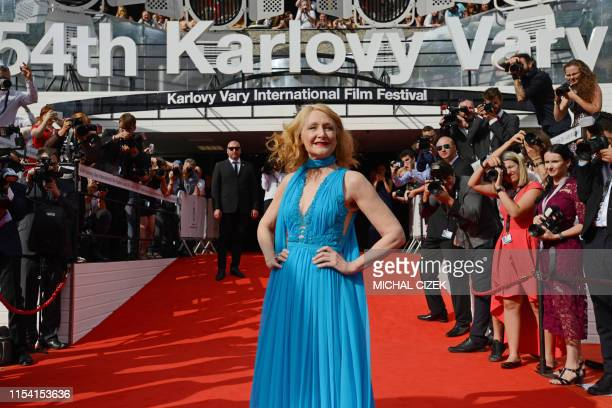 Film actress Patricia Clarkson poses on the red carpet as she arrives for the closing of the 54th Karlovy Vary International Film Festival in Karlovy...