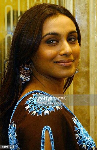 Film actress Rani Mukherjee poses for photographers during a press conference to promote film Black a Sanjay Leela Bhansali film on February1 2005 in...