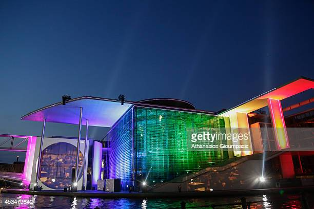 Film and light projection in the parliament district on August 08 2014 in Berlin Germany Located in the center playing area beyond the entire Marie...