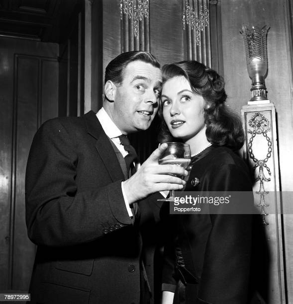 Film and Television British actors Ian Carmichael and Janet Scott at the reception for their film 'School for Scoundrels'